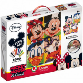 Quercetti Pixel Art  Disney Mickey Mouse e Friends - Ritratto Topolino Minnie Paperino e Paperina 6000 Chiodini - 807