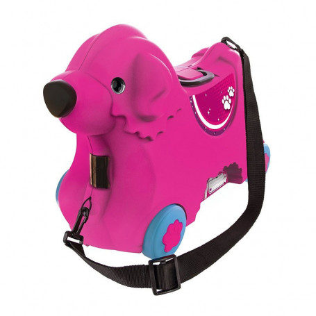 Valigia Trolley Cavalcabile in ABS Cagnolino Rosa