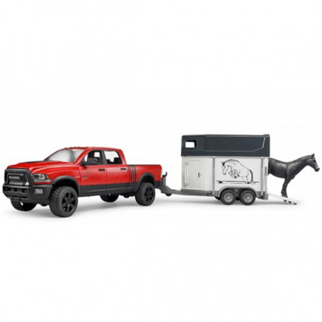 Bruder 02501- Pick Up con Rimorchio Trasporto Cavalli Dodge Ram 2500 scala 1:16