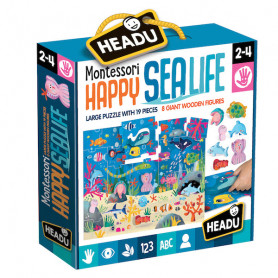 Happy Sea Life Montessori Puzzle del mare con animali in legno Headu 20096
